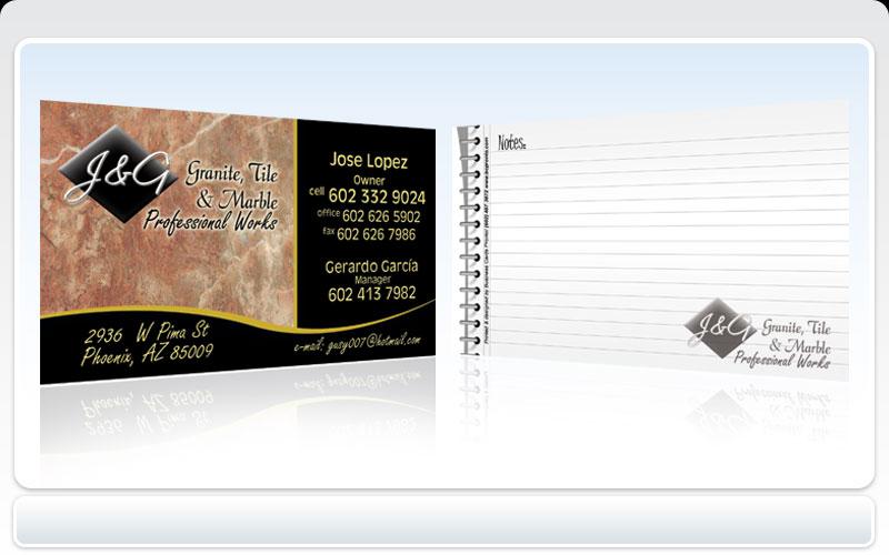 Business Cards Pronto J & G Granite Tile & Marble