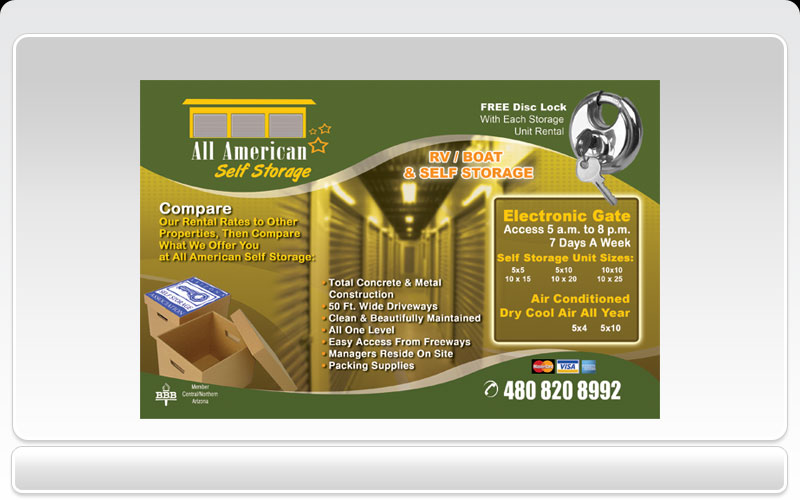 Business cards pronto all american storage all american storage flyer front reheart Gallery