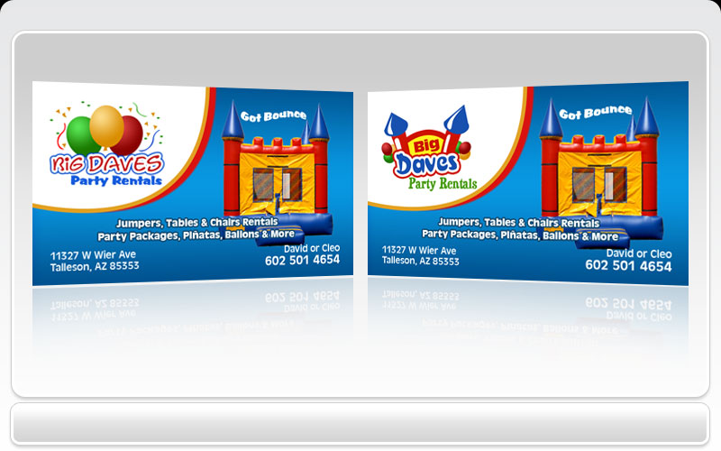 Business cards pronto big daves party rentals colourmoves Image collections