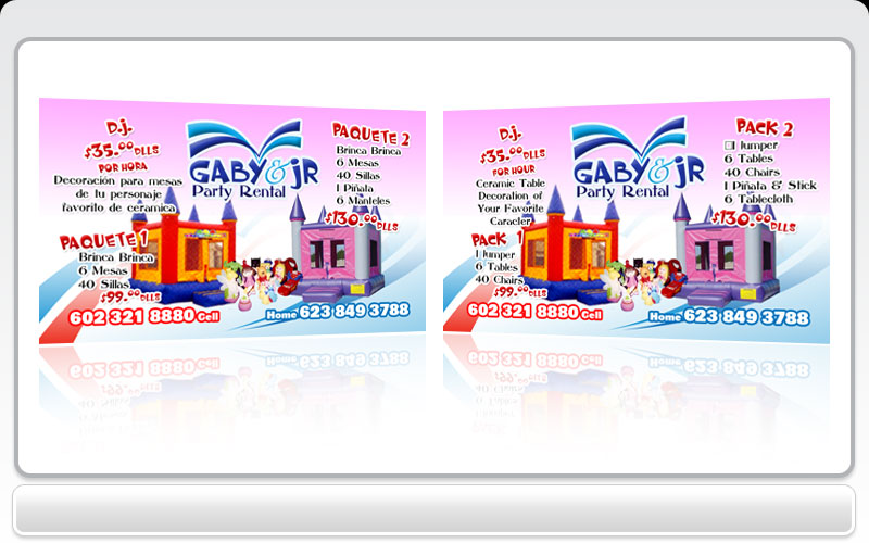 Business cards pronto gaby jr party rental for Party business card ideas