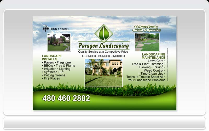 Business cards pronto paragon landscaping for Landscaping business